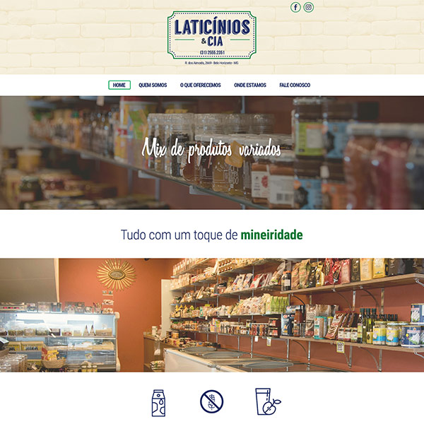 Página Inicial Site Laticínios e Cia